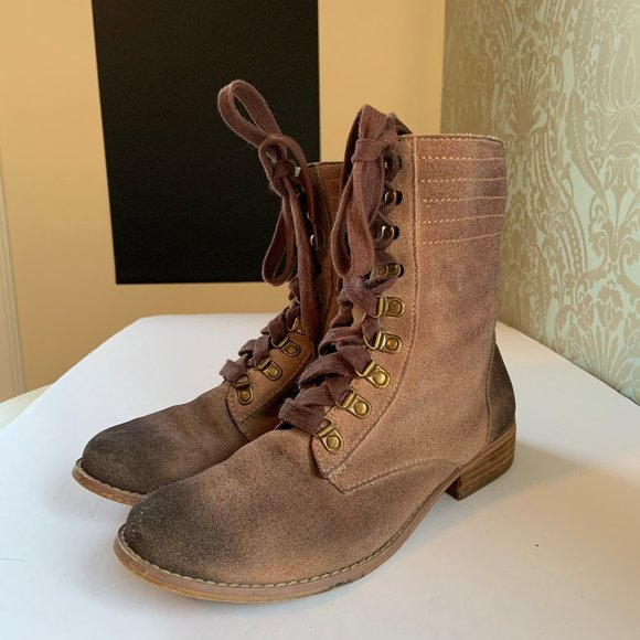 BP Nordstrom Lace Up Fold Down Combat Boot Suede